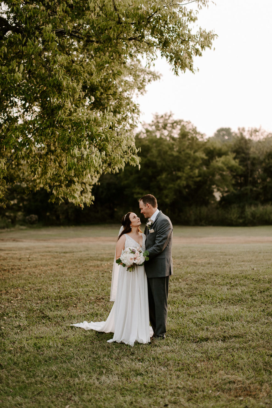 bride and groom at grace valley farm golden hour